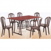 5-Feet Solid 1 Dining Table + 6 Dining Chairs/Wooden Table Chairs/Ruang Makan/Dining Area Set/Meals Table/Meals Chairs(Walnut Colour)