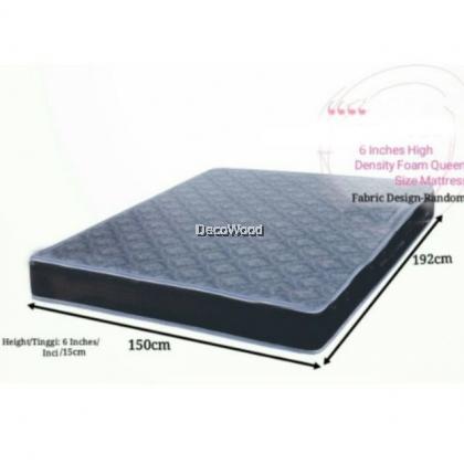 High Density Rebond Foam Tilam Queen 6 Inches/ Inci/ 15cm Tinggi/Queen Size Mattress H 4.8 / QUEEN Size 6 Inch HD Latex Foam Posture Mattress Tilam - Queen Size 5 YEARS WARRANTY
