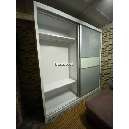 [FREE SHIPPING + FREE INSTALLATION] Wardrobe - BAHAGIA Malix 8x8ft Wardrobe / (+-) 8X8ft Sliding Wardrobe / Large hanging space / Anti-Jump / Glass door / Almari baju / Pintu Kaca / Almari Baju Kayu / Berlaci / Almari Pakaian