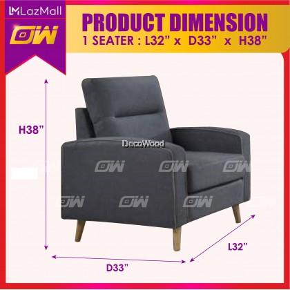 W3828 Grey 1 / 2 / 3 / SET Seater Sofa Fully Waterproof Fabric Sofa / Lounge Chair / Relax Sofa / Relax Chair / Fabric Sofa / Sofa Santai