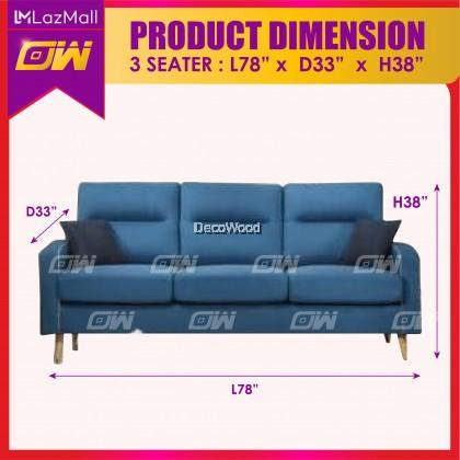 W3828 Blue 1 / 2 / 3 / SET Seater Sofa Fully Fabric Sofa / Lounge Chair / Relax Sofa / Relax Chair / Fabric Sofa / Sofa Santai