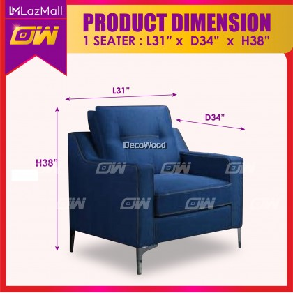 W3888 1 / 2 / 3 / SET Seater Sofa Fully Fabric Sofa / Lounge Chair / Relax Sofa / Relax Chair / Fabric Sofa / Sofa Santai 3861123