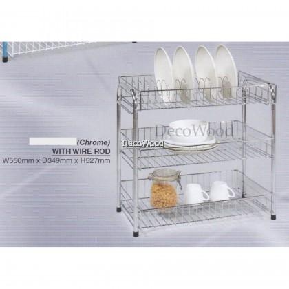 3-Layer CHROME Kitchen Rack/Plate Rack/Bowl Rack/Cup Rack/Cutlery Rack/Plate Rack/Metal Rack/Kitchen Rack/Sink Rack/Cooking Rack/Plate Rack/Clothes Rack/Rak Baju/Rak Dapur/Rak Masak L550MM X W350MM X H527MM