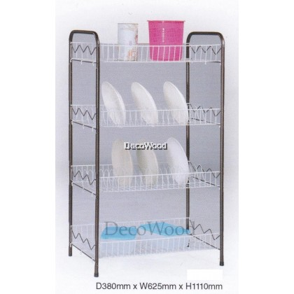 4-Layer Kitchen Rack/Plate Rack/Bowl Rack/Cup Rack/Cutlery Rack/Plate Rack/Metal Rack/Kitchen Rack/Sink Rack/Cooking Rack/Plate Rack/Clothes Rack/Rak Baju/Rak Dapur/Rak Masak L625MM X W380MM X H1110MM