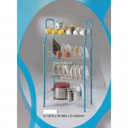 4-Layer Kitchen Rack/Plate Rack/Bowl Rack/Cup Rack/Cutlery Rack/Plate Rack/Metal Rack/Kitchen Rack/Sink Rack/Cooking Rack/Plate Rack/Clothes Rack/Rak Baju/Rak Dapur/Rak Masak L660MM X W432MM X H1370MM