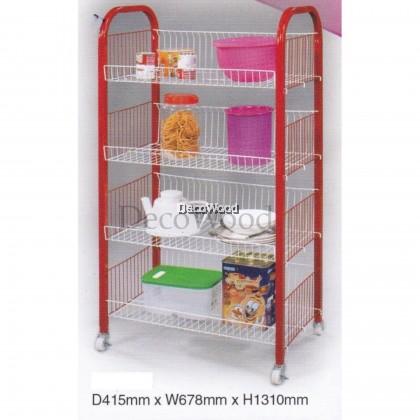4-Layer Kitchen Rack With Lockable/Dishes Rack/Bowl Rack/Cup Rack/Cutlery Rack/Plate Rack/Metal Rack/Kitchen Rack/Sink Rack/Cooking Rack/Pantry Rack/Rak Dapur/Rak Masak (Random Colour) L678MM X W415MM X H1310MM
