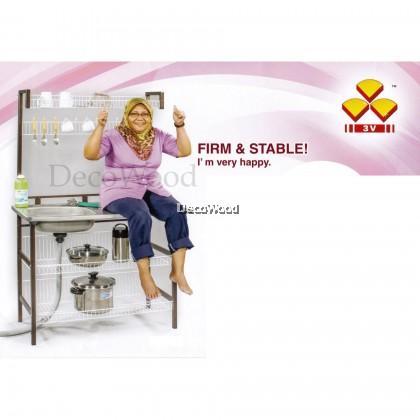 4-Layer Kitchen Rack With Sink/Plate Rack/Metal Rack/Kitchen Rack/Sink Rack/Cooking Rack/Pantry Rack/Rak Dapur/Rak Masak (Random Colour) Pre Order 1 Week
