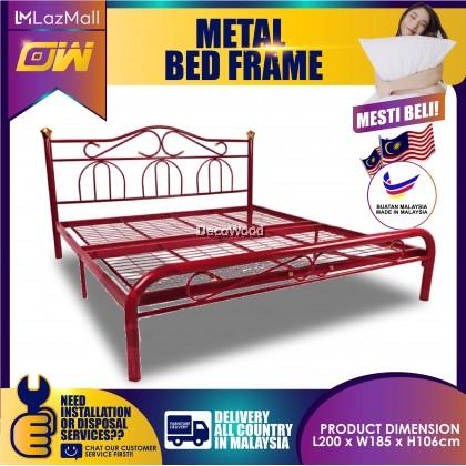 3V Buatan 2B Powder Coat Metal Bed Frame 3VCS960F Katil Besi Bedframe - Queen Size ( Random Color ) [DecoWood DW Furniture]