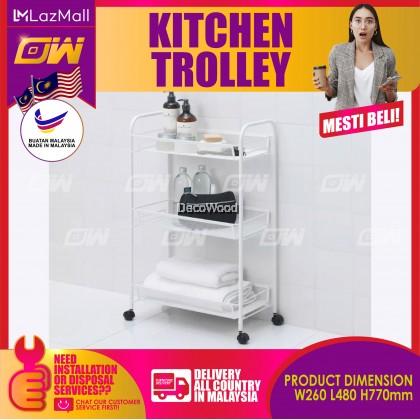 HORNAVAN White Metal Kitchen Trolley With Rollers 26CM X 48CM / Food Trolley / Cup Rack / Plate & Metal Rack / Kitchen & Sink Rack / Cooking & Clothes Rack / Rak Baju / Rak Dapur / Rak Masak