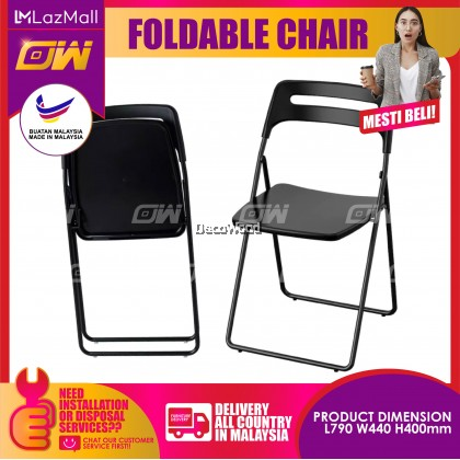 Set of 4 : Black Foldable Chair / Dining Chair / PP Chair / Relax Chair / Hall Chair / Home & Office Chair / Kerusi Santai / Nap Chair / Tv Chair