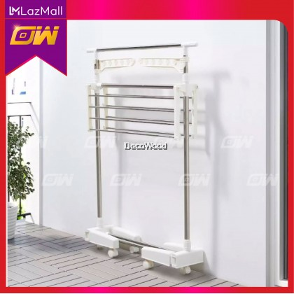 White Indoor Clothes Hanger / Towel Hanger / Anti-Rust Cloth Hanger / Drying Rack / Outdoor Clothes Hanger / Drying rack, 2 levels,  78x46x185 cm