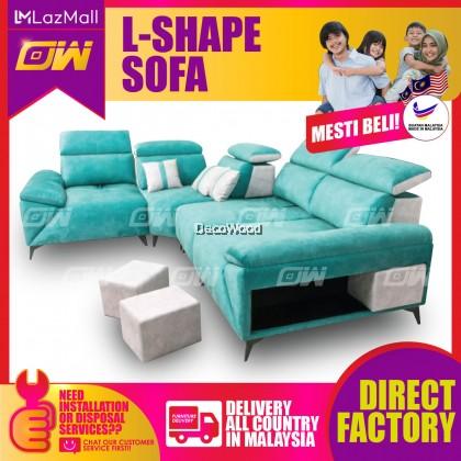 [PRE ORDER] Greenish Blue L-Shape Sofa Fully Fabric Sofa / Lounge Chair / Relax Sofa / Relax Chair / Leather Sofa / Sofa Santai