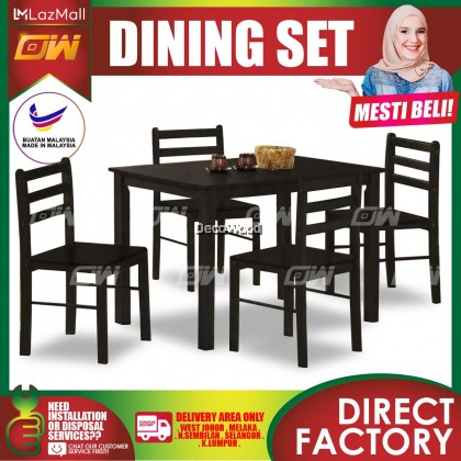 [READY STOCK] Dark Brown 1+4 Seater 1100mm Feet Solid Wood Dining Set Kayu High Quality Turkey Fabric Chair / Dining Table / Dining Chair / Meja Makan / Kerusi Meja Makan / Buffet Makan Meja / Meja Party Makan Weekend