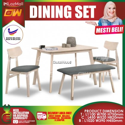 [READY STOCK] Beech 1+2 Seater 1100mm Feet Solid Wood Dining Set Kayu High Quality Turkey Fabric Chair / Dining Table / Dining Chair / Meja Makan / Kerusi Meja Makan / Buffet Makan Meja / Meja Party Makan Weekend