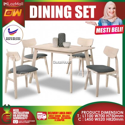[READY STOCK] Beech 1+4 Seater 1100mm Feet Solid Wood Dining Set Kayu High Quality Turkey Fabric Chair / Dining Table / Dining Chair / Meja Makan / Kerusi Meja Makan / Buffet Makan Meja / Meja Party Makan Weekend