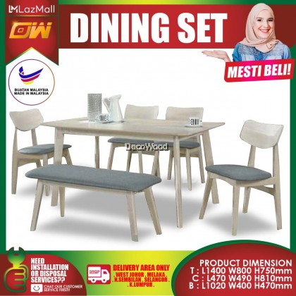 [READY STOCK] Walnut 1+4 Seater WITH BENCH 4.5 Feet Solid Wood Dining Set Kayu High Quality Turkey Fabric Chair / Dining Table / Dining Chair / Meja Makan / Kerusi Meja Makan / Buffet Makan Meja / Meja Party Makan Weekend