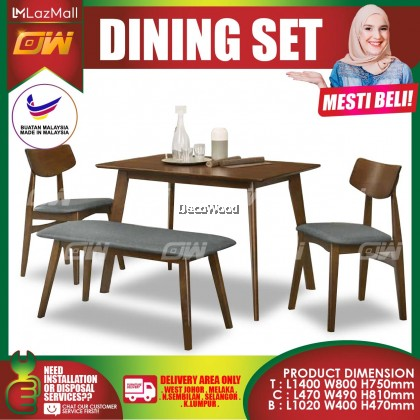 [READY STOCK] Walnut 1+2 Seater WITH BENCH 1100MM Solid Wood Dining Set Kayu High Quality Turkey Fabric Chair / Dining Table / Dining Chair / Meja Makan / Kerusi Meja Makan / Buffet Makan Meja / Meja Party Makan Weekend