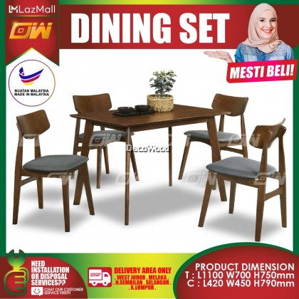 [READY STOCK] Walnut 1+4 Seater 1100MM Solid Wood Dining Set Kayu High Quality Turkey Fabric Chair / Dining Table / Dining Chair / Meja Makan / Kerusi Meja Makan / Buffet Makan Meja / Meja Party Makan Weekend