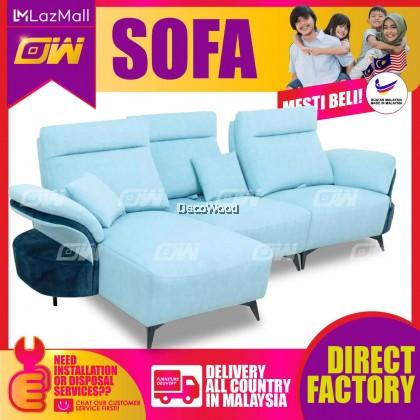[PRE ORDER] Light Blue L-Shape Sofa Fully Fabric Sofa / Lounge Chair / Relax Sofa / Relax Chair / Leather Sofa / Sofa Santai
