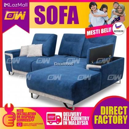 [PRE ORDER] Blue L-Shape Sofa Fully Fabric Sofa / Lounge Chair / Relax Sofa / Relax Chair / Leather Sofa / Sofa Santai
