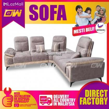 [PRE ORDER]  Greyish Brown L-Shape Sofa Fully Fabric Sofa / Lounge Chair / Relax Sofa / Relax Chair / Leather Sofa / Sofa Santai