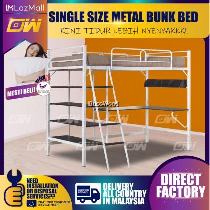 Single Size Metal Bunk Bed/Splittable Bed/2 Convertible to 1 Double Decker Bed/Single Metal Bed/Single Bed/Couple Bed/Couple Bedframe/Adult Bedframe/Large Bed/Homestay Bed/Master Bedroom Bed/Katil Besi Kuat