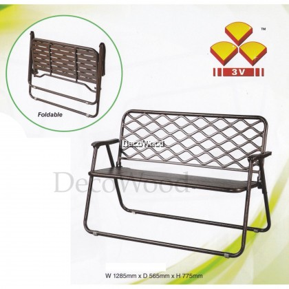 Foldable Outdoor Bench Chair/Outdoor Chair/Patio Chair/Patio Bench/Smoking Area Bench/ Bench Chair/Resting Area Chair/Staff Room Bench/Waiting Chair/Waiting Bench (Copper Hammerstone Colour) L1285MM X W565MMX H775MM Pre Order 1 Week
