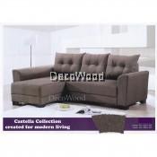L-Shape Fabric Sofa Lounge Chair Lounge Sofa Relax Chair (Brown Colour) L2000MM X W1470MM X H813MM