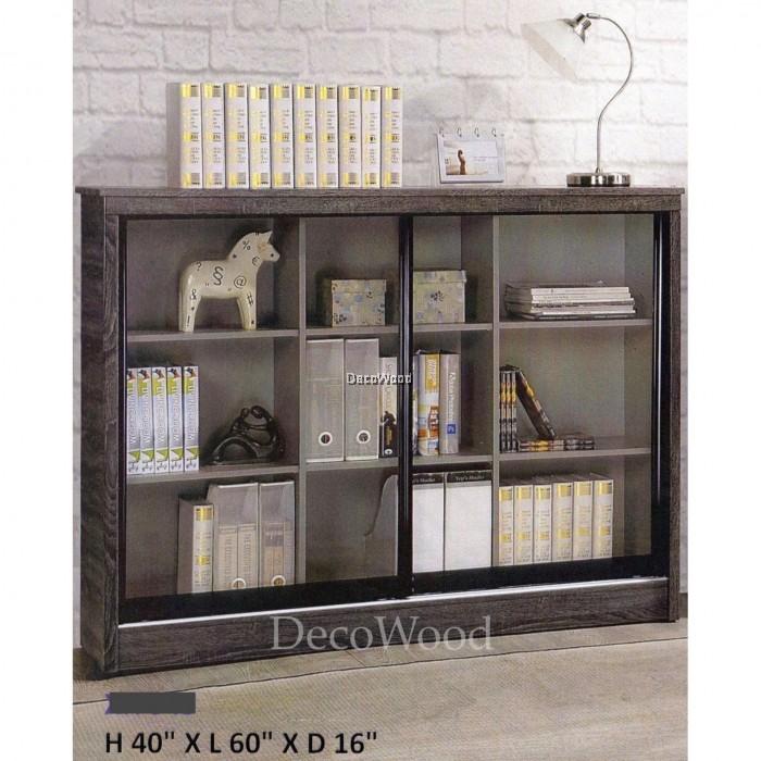Ready Fixed 5 Feet Sliding Glass Door Book Case Book Shelf Book
