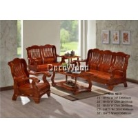 Fully Solid Wood Sofa Set 1+2+3 Sofa Lounge Chair Relax Sofa (Brown Color)