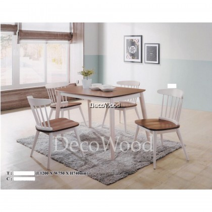 Solid Wood 1 Dining Table +4 Dining Chair Dining Set (White + Brown Color) Pre Order 1 Week