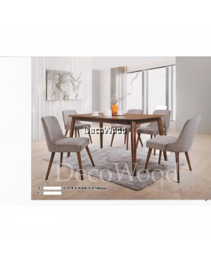 Solid Wood 1 Dining Table +6 Dining Cushion Chair Dining Set (Grey Colour) Pre Order 1 Week