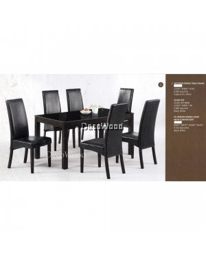 Fully Solid Wood 1+6 Leather Cushion Dining Table Chair Set (Black Color)