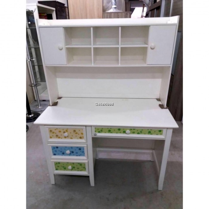 Ready Fixed Solid Wood 4 Feet Children Study Writing Desk Computer Office Table System Home Cabinet White Color L1210mm X W600mm
