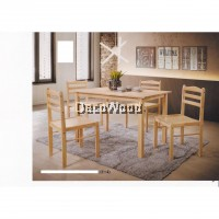 Fully Solid Wood 1 Dining Table + 4 Dining Chair Set (Light Brown Colour) Pre Order 2 Weeks