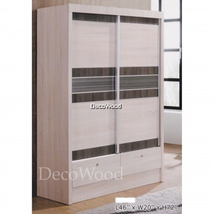 Ready-Fixed 4 Feet Glass Sliding Door Wardrobe Clothing Cabinet With 2 Drawers Cream  Color)