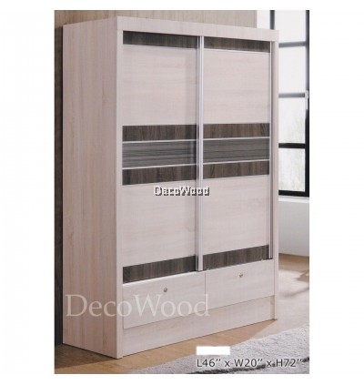 Ready-Fixed 4 Feet Glass Sliding Door Wardrobe Clothing Cabinet With 2 Drawers Pre order 1 week