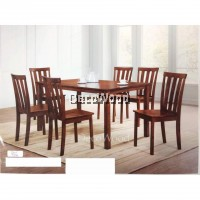 Fully Solid Wood 1 Dining Table + 6 Dining Chair Set (Black Walnut Colour)