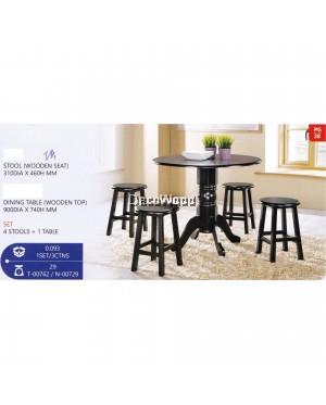 Fully Solid Wood 1 Dining Table + 4 Dining Stool Set (Dark Brown) Pre Order 2 Week