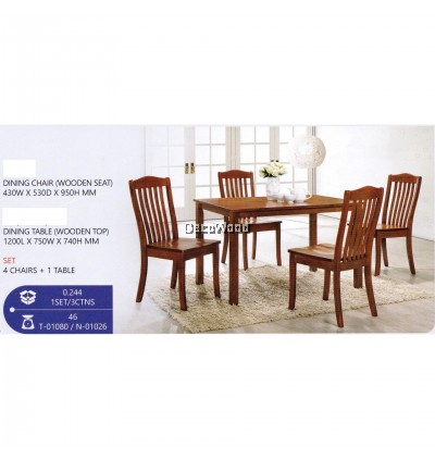 Fully Solid Wood 1+4 Dining Table Chair Set (Walnut) Pre Order 2 Week