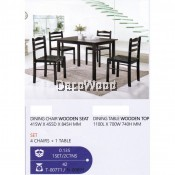Fully Solid Wood 1 Dining Table + 4 Dining Chair Set (Dark Brown) Pre Order 1 Week