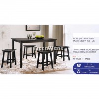 Fully Solid Wood 1 Dining Table + 4 Dining Stool Set (Dark Brown) Pre Order 2 Week