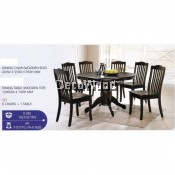 Fully Solid Wood 1 Round Dining Table +6 Dining Chairs Set (Walnut Colour) Pre Order 2 Week