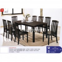Fully Solid Wood 1 Dining Table + 8 Dining Chairs Set (Dark Brown Colour) Pre Order 1 Week