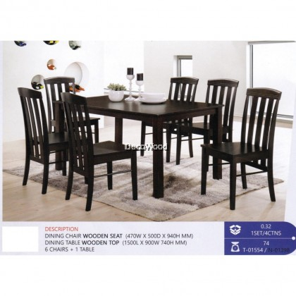 Fully Solid Wood 1 Dining Table +6 Dining Chair Set (Walnut Colour) Pre Order 1 Week