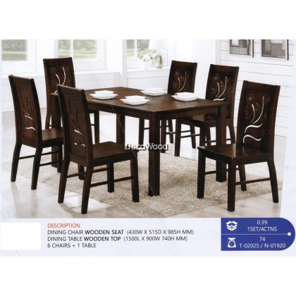 Fully Solid Wood 1+6 Dining Table Chair Set (Walnut Colour) Pre Order 1 Week