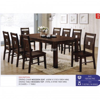 Fully Solid Wood 1+8 Dining Table Chair Set (Walnut Colour) Pre Order 1 Week