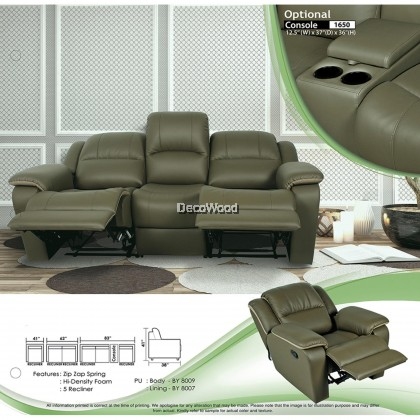 Recliner Sofa Set 1+2+3 Fully Leather Sofa Lounge Chair Relax Sofa (Brown Color) With 10 Years Warranty