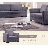1+2+3 Leather Cushion Sofa Lounge Chair Relax Sofa Set (Grey Color) Pre Order 2 Week