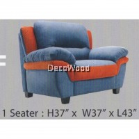 1-Seater Fully Water Resistant Fabric Sofa (Blue & Orange Color) L109MM X W940MM X H940MM Pre Order 2 Weeks